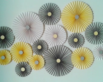 SET OF 15 - Yellow, White and Grey Paper Rosettes  - Table Backdrop  for Baby shower, Birthdays, wedding, Nursery