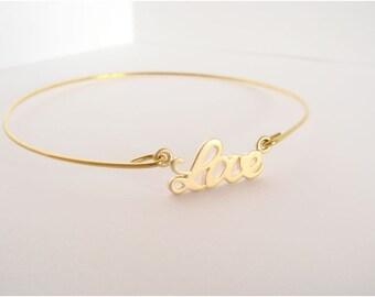Gold LOVE bangle - Love bracelet - Bridesmaid gift - Bridal bracelet - Friendship bracelet - Minimalist jewelry