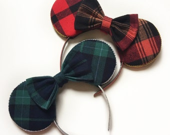 Red Flannel Mouse Ears, Red Plaid Mouse Ears with matching bow