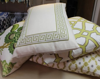 Decorative Greek Key Chinoiserie, Pillow,  Green, Beige, Lumbar Throw Pillow
