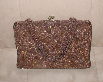 Vintage Brown Beaded Evening Purse made in Belgium