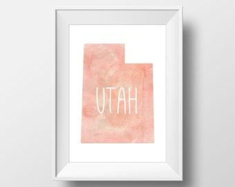 Utah State Pink Watercolor Printable Art, Utah Print, Utah Art, Modern Art,