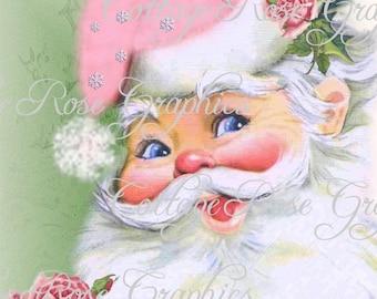 Pink Shabby Retro Santa and roses Large digital download ECS buy 3 get one free