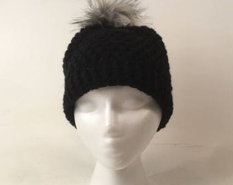 Faux Fur Pom Beanie, Crochet Winter Hat, Black with Gray Faux Fur Pom Pom
