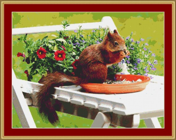 Red Squirrel Cross Stitch Pattern /Digital PDF Files /Instant downloadable