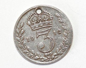 1912 Three Pence English Coin Sterling Silver Bracelet Charm (Genuine)