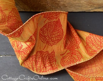 "Fall Wired Ribbon, 4"" Aspen Leaf Copper Raw Silk Look  - TWO & 1/2 YARDS - Offray ""Aspen Leaf"" #431 Autumn, Thanksgiving Wire Edged Ribbon"