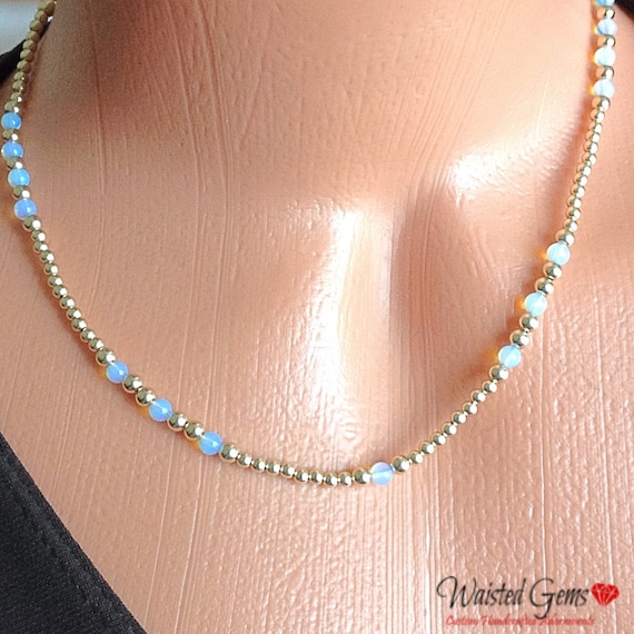 14k Gold and Opal Choker Necklace, Waistbeads, Adjustable Necklace, Mothers Day Gift,  Birthday Gift, Valentines Gift, Gift for her  zmw1123