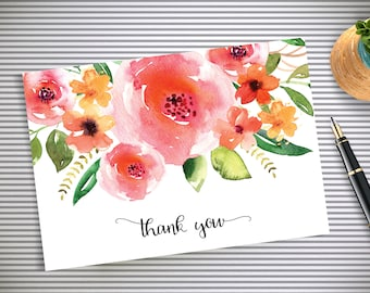 Watercolor Roses Thank you Card | Floral card | Wedding | Thank You Note | Instant Download | Printable PDF | Shower | Calligraphy