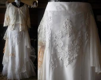 "Handmade romantic Bohemian lace wedding skirt Victorian Edwardian long white bridal skirt shabby chic wedding skirt size M/L-L waist 30""-32"""
