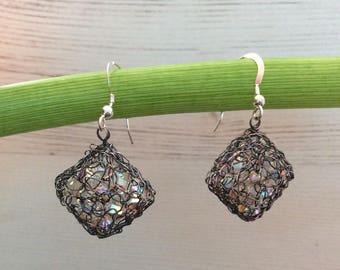 Crocheted drop cube earrings