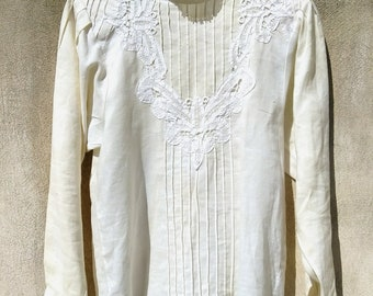 Vintage Peasant Lace Beige Shirt Blouse Top Size 12