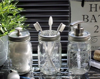 Vintage Style Ball Mason Bathroom Accessory Jar Set in Clear Glass with Modern Satin Nickel Dispenser Pump and Fittings **UK SELLER**