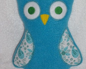 Handmade Stuffed Large Blue Fleece Owl