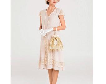 Nude Great Gatsby dress with cap sleeves, 1920s flapper dress, Downton Abbey dress, 1920s tea dress, Roaring 20s dress, robe Charleston
