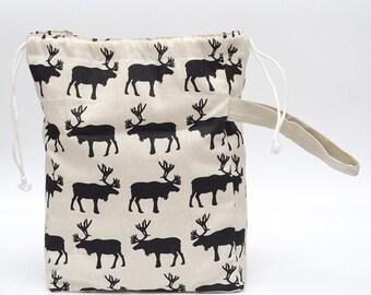 Knitter Project LARGE Bag. NOMADIC ELK. Special KnitterBag design.