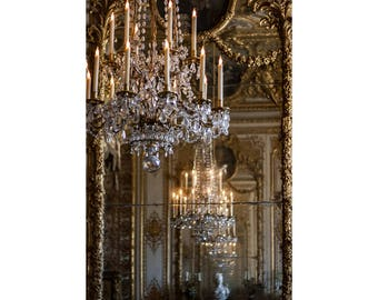 Versailles Chandelier Print, Paris Photography, Romantic Wall Art, Gold Art Picture, Hall of Mirrors, Gold Paris Photo, French Style Decor