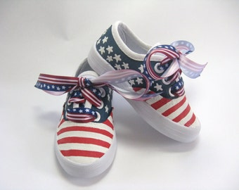 American Flag Shoes, Patriotic Fourth of July Sneakers, 4th of July Outfit, Red, White and Blue, Stars and Stripes for Baby and Toddler