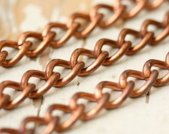 2ft Large Heavy Curb Chain 14g, Solid Copper 10mm x 7mm Strong Curb Chain, Twisted Link Chunky Mens