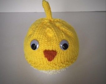 Hand Knit Infant Baby Chick Hat, Yellow Hat, Animal Hat, Chicken Hat, Infant Costume, Chicken Costume, Hat with Ears, Warm Baby Hat, Googly