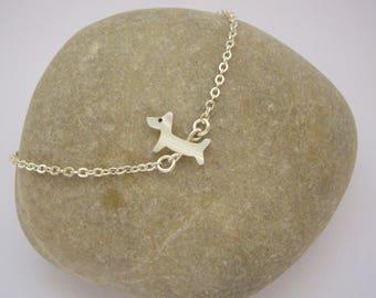 Mother of Pearl - silver dog bracelet