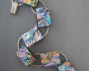 Dichroic Fused Glass Rainbow Bracelet, Glass Link Bracelet, Summer Jewelry, Flower Design Bracelet