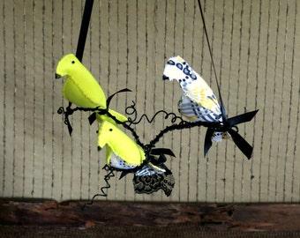 Woodland Bird Mobile Housewarming Decoration, Birds on Branches