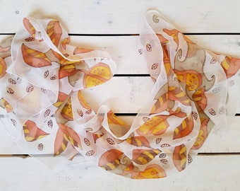 Abstract motive hand painted silk scarf. Hand painted silk scarf  in orange and brown colors. Ready to ship.