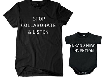 Stop Collaborate Listen - Brand New Invention T-shirt Tee - Vanilla Ice - Infant Bodysuit Creeper Father's Day Daddy and Me SET