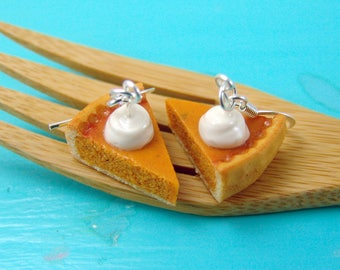 Pumpkin Pie Earrings // Miniature Food Jewelry // MADE TO ORDER // Holiday Earrings