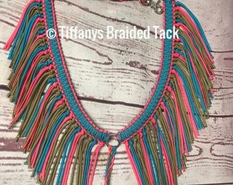 paracord Fringe breast collar,  horse tack,  gold  breast collar, breast collar