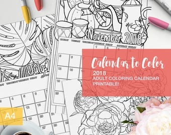2018 Calendar coloring pages for adults - colouring book - printable calendar - adult coloring books - adult coloring pages