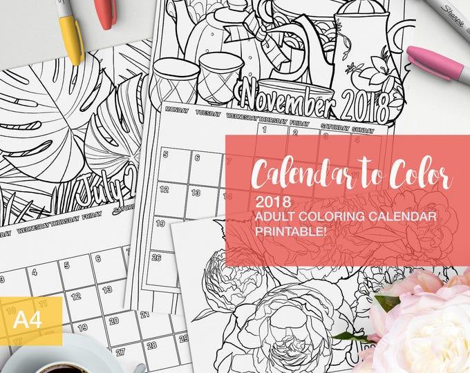 Featured listing image: 2018 Calendar to color for adults - Printable!