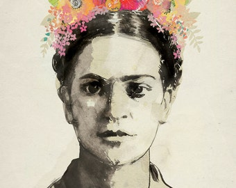 """Woman with Flowers Print Botanical Archival Print - 8""""x10"""", 9""""x12"""" or 11""""x14"""""""
