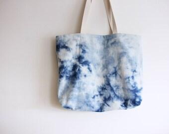 Reverse Shibori + Denim Beach Bag - Bucket Bag - Reversible Bag - Tote bag - Shibori bag - denim bag -canvas bag