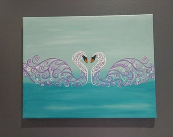 Swan Lake acrylic painting on canvas