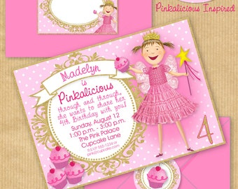"""PINKALICIOUS Party Invitation 5x7"""" with Address Labels, Now Includes Envelope Templates - DIGITAL files only - PERSONALIZED Print yourself"""