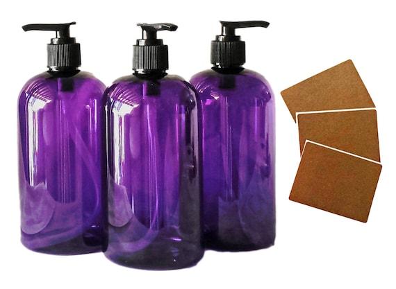 16 oz Plastic Bottles, Purple PET Round Bottles w/ Black Lotion Pumps available in 1, 3, 6 & 12 + Kraft Labels