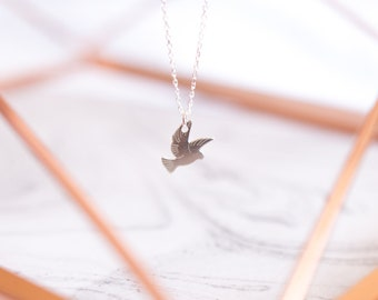 Silver Dove Necklace | Bird Necklace | 925 Sterling Silver Dainty Bird Necklace | Dainty Pigeon Necklace | Bird Necklace |