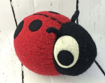 Ladybug Snooter-doot – felted wool toy, whimsical soft-sculptured doll, hand-knit plush, decorative softie, collectible stuffie, red black