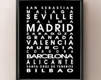 Spain Bus Roll - España Poster