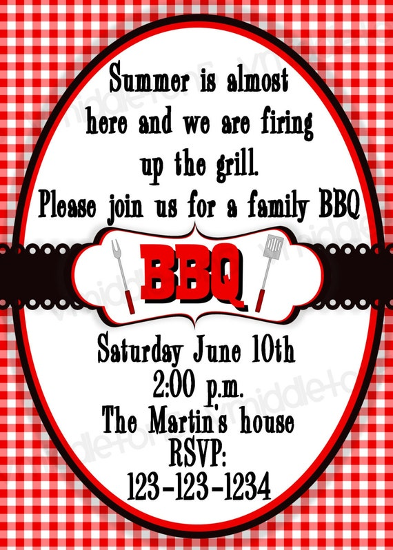 bbq invitation picnic cookout print your own 4x6 or 5x7
