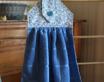 Country Calico Blue Hanging Dish Towel