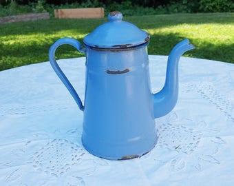 French vintage blue enamel coffee pot , filter coffee pot, red  coffee pot,  kitchen decor