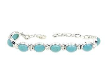 Dominican Larimar Bracelet & .925 Sterling Silver Bracelet Y988 Jewelry The Silver Plaza