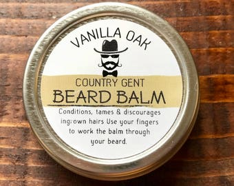 Country Gent Handmade Beard Balm Conditioner Tamer 1 oz Tin Vanilla Oak