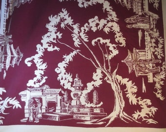 """Large Vintage STARTEX Tablecloth, Asian Design, Good Condition...61"""" X 80"""""""