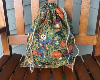 Scarecrow Fall Drawstring Bag, Thanksgiving Gift, Zero Waste, Halloween Bag, Trick or Treat Bag, Jack O' Lantern, Cloth Bag, Sustainable