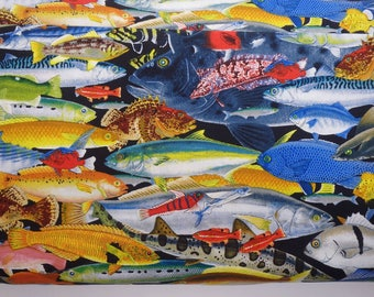 "Catalina Rockfish Fabric, Fisherman's Dream, Pacific Ocean Fish, 44"" wide, by the half yard, 100% Quilting Cotton"