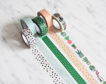 Washi tape set, Plant washi tape, Mint green washi tape, greenery masking tape, blush masking tape, blush gold washi, emerald green washi